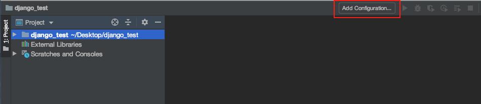 PyCharmを起動し、画面右上の[Add Configuraion]を選択します。