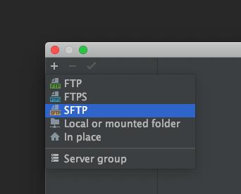 左上の[+]ボタンを押し、[SFTP]を選択します。
