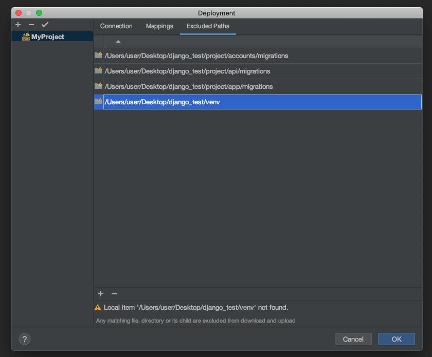 ここでは、デプロイを行わないディレクトリやファイルの設定をします。