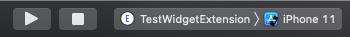 ビルドするターゲットが追加したWidgetになっている事を確認し、ビルドします。
