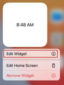 デフォルトのコードでは、Configtation Intentを利用しない場合と同様に時刻が表示されますが、Widgetを長押しすると編集用のボタンが表示されます。