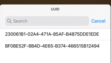 これで、Widgetを確認すると以下のように、CoreDataに登録されているUUIDの一覧が確認できるようになります。